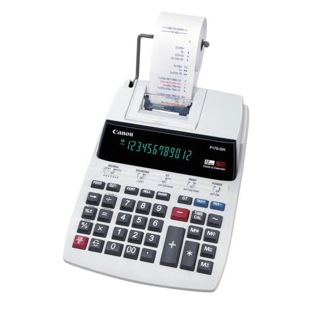 Canon P170DH 12-Digit Printing Calculator, Black/Red Print, 2.3 Lines/Sec