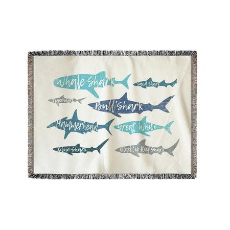 Sharks - Pattern - Shark Names - Lantern Press Artwork (60x80 Woven Chenille Yarn Blanket)