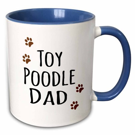 3dRose Toy Poodle Dog Dad - Doggie by breed - muddy brown paw prints - doggy lover - proud pet owner love - Two Tone Blue Mug,