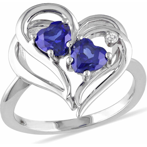 1-1/8 Carat T.G.W. Created Blue Sapphire and Diamond-Accent Sterling Silver Double Heart Ring