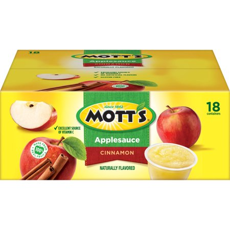 (2 Pack) Mott's Cinnamon Applesauce, 4 oz, 18 count