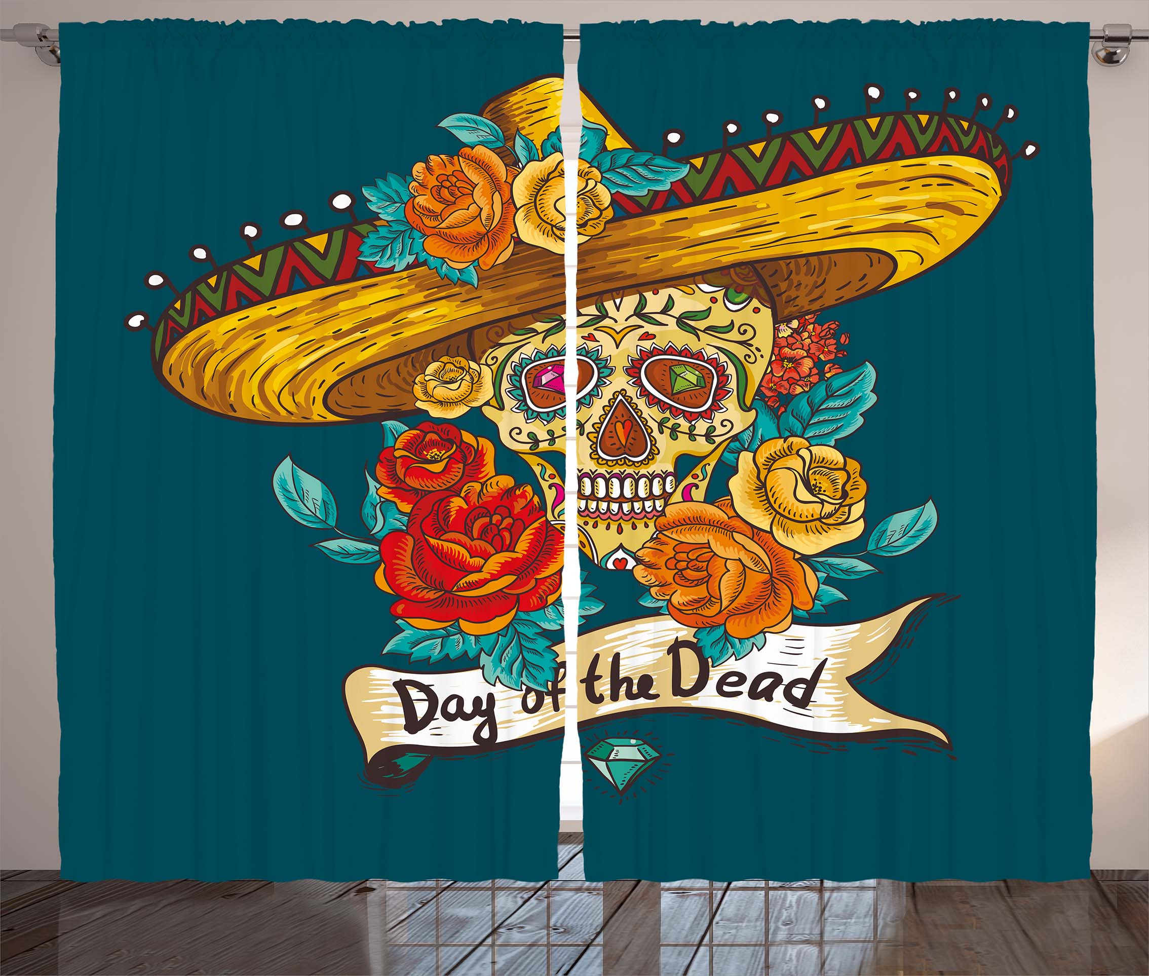 Day Of The Dead Decor Curtains 2 Panels Set, Mexican Festive Hat Skull With  Roses Print, Window Drapes For Living Room Bedroom, 108W X 90L Inches, ...