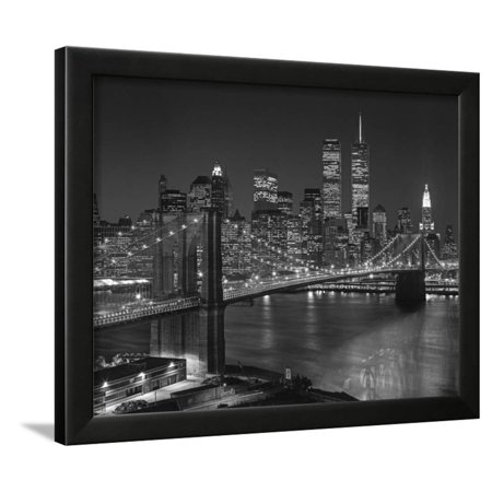 Top View Brooklyn Bridge - New York City Icons Framed Print Wall Art ...