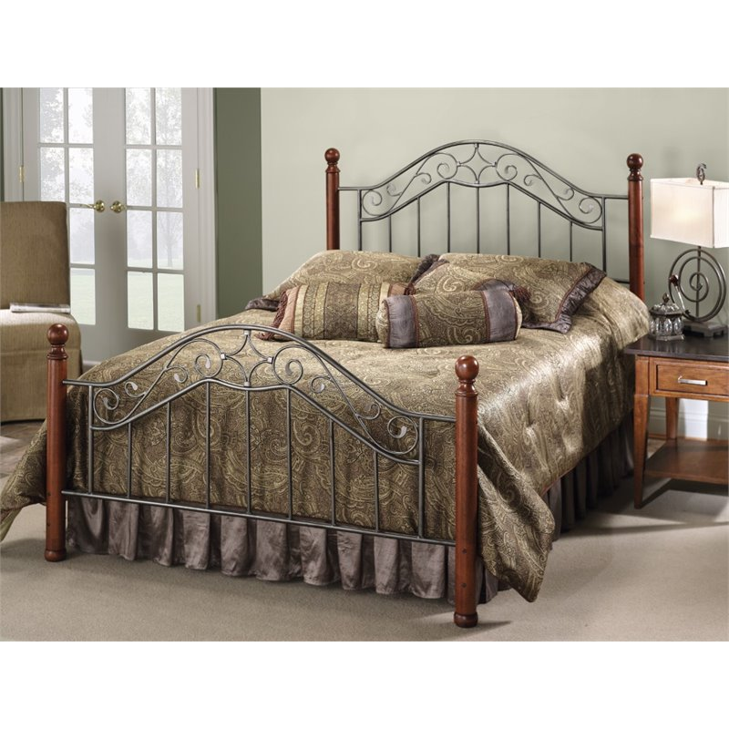 Hillsdale Martino Full Poster Bed in Smoke Silver by Hillsdale