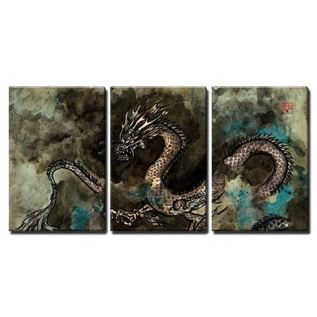 Dragon Painting - wall26 - 3 Piece Canvas Wall Art - Traditional Ink Painting of a Fierce Chinese Dragon - Modern Home Decor Stretched and Framed Ready to Hang - 24