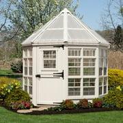 Little Cottage Octagon - 8' x 8' - White - Wooden Greenhouse w/ Floor Kit