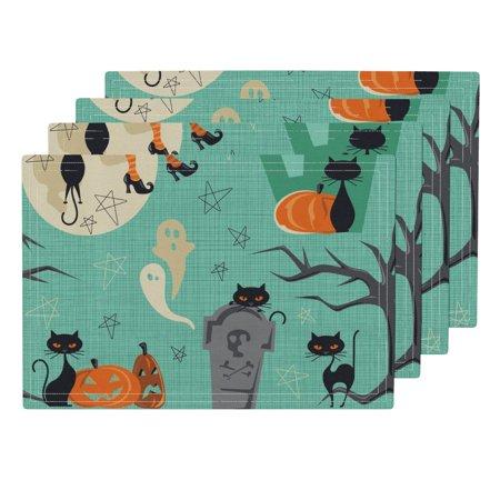 Cloth Placemats Mod Halloween Vintage Halloween Cats Retro Mid Century Set of 4