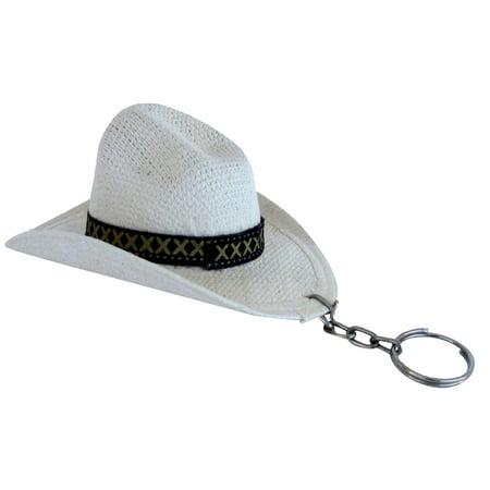 Western Mini Cowboy Hat Keychain New White Key Chain Cowgirl Ring Keyring Fob