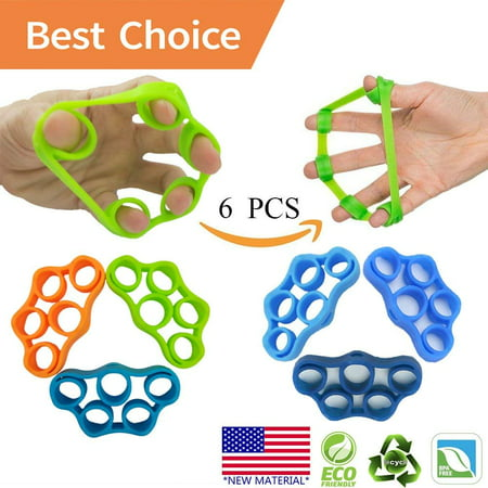 Hand Grip Strengthener, Finger Exerciser, Grip Strength Trainer (6 PCS) New MATERIAL Forearm Grip Workout, Finger Stretcher, Relieve Wrist Pain, Carpal Tunnel, Trigger