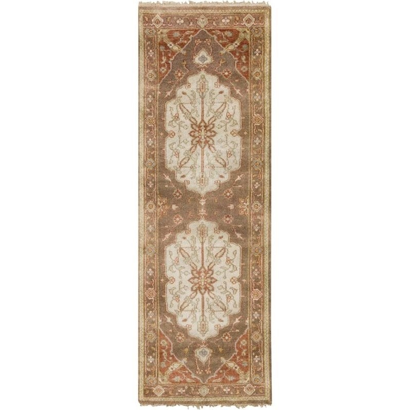 """Surya Zeus 2'6"""" x 8' Hand Knotted Wool Runner Rug in Brown and Orange"""