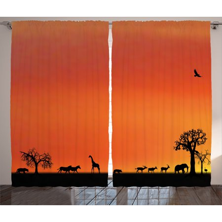 Wildlife Decor Curtains 2 Panels Set, Panorama of Safari Animals Gulls Reflections in Background at Sunset, Window Drapes for Living Room Bedroom, 108W X 84L Inches, Burnt Orange Black, by Ambesonne