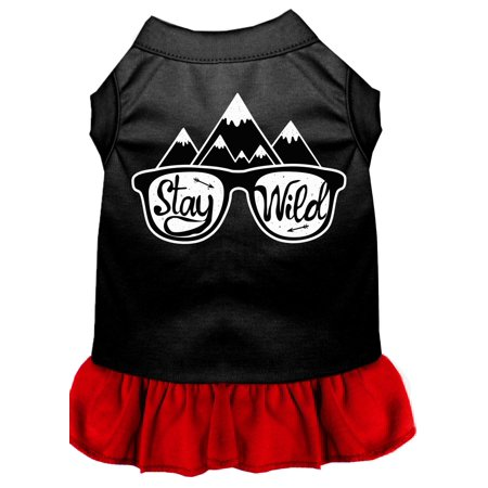 Stay Wild Screen Print Dog Dress Black With Red Xs (8)