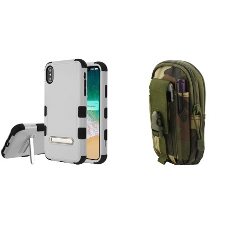 TUFF Hybrid (Military Grade Certified) Phone Protector Cover Case with Built-in Magnetic Metal Stand (Gray/Black) with Jungle Camo Tactical EDC MOLLE Belt Bag Pouch and Atom Cloth for iPhone XS