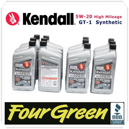Kendall Engine Motor Oil 5w20 GT-1 Synthetic High Mileage With Liquid Titanium