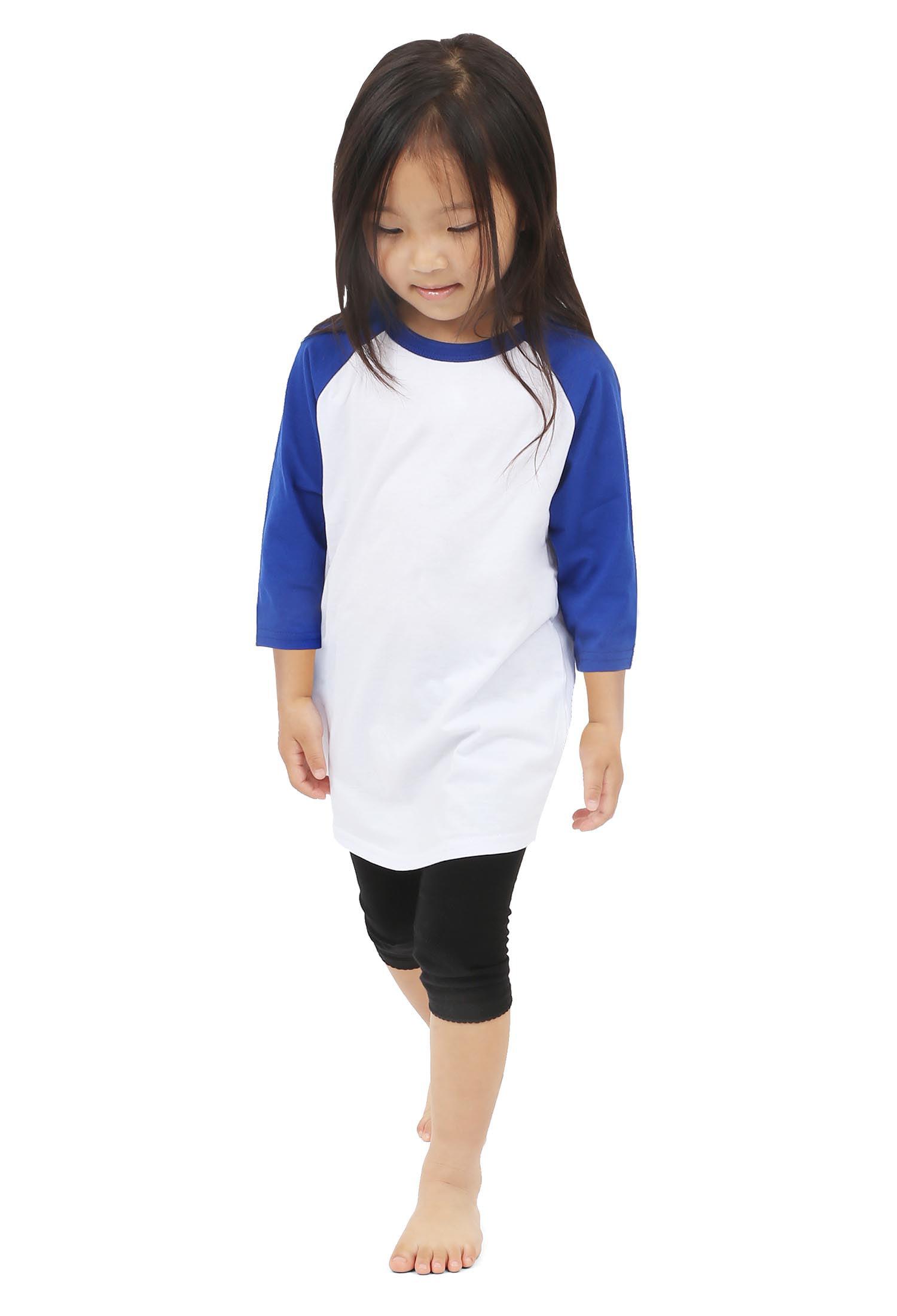 Kids Boys Girls T Shirts Plain American Baseball Long Raglan Sleeves Sports Tees