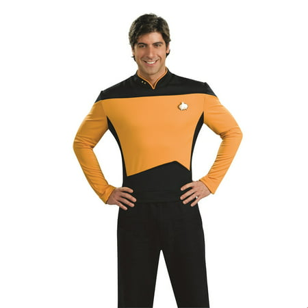 Star Trek Mens Next Generation Deluxe Gold Shirt Adult Halloween Costume (Famous Rock Star Halloween Costumes)