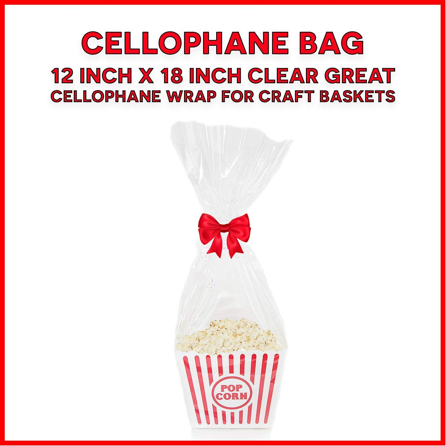 Cellophane Bags Mylar Sheet Great Wrapping Paper for Craft Basket 100 Pack ( 12x18 Inches)