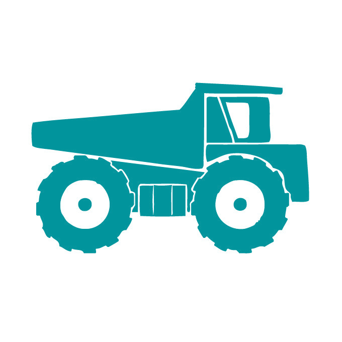 Right Facing Dump Truck Vinyl Graphic - Large
