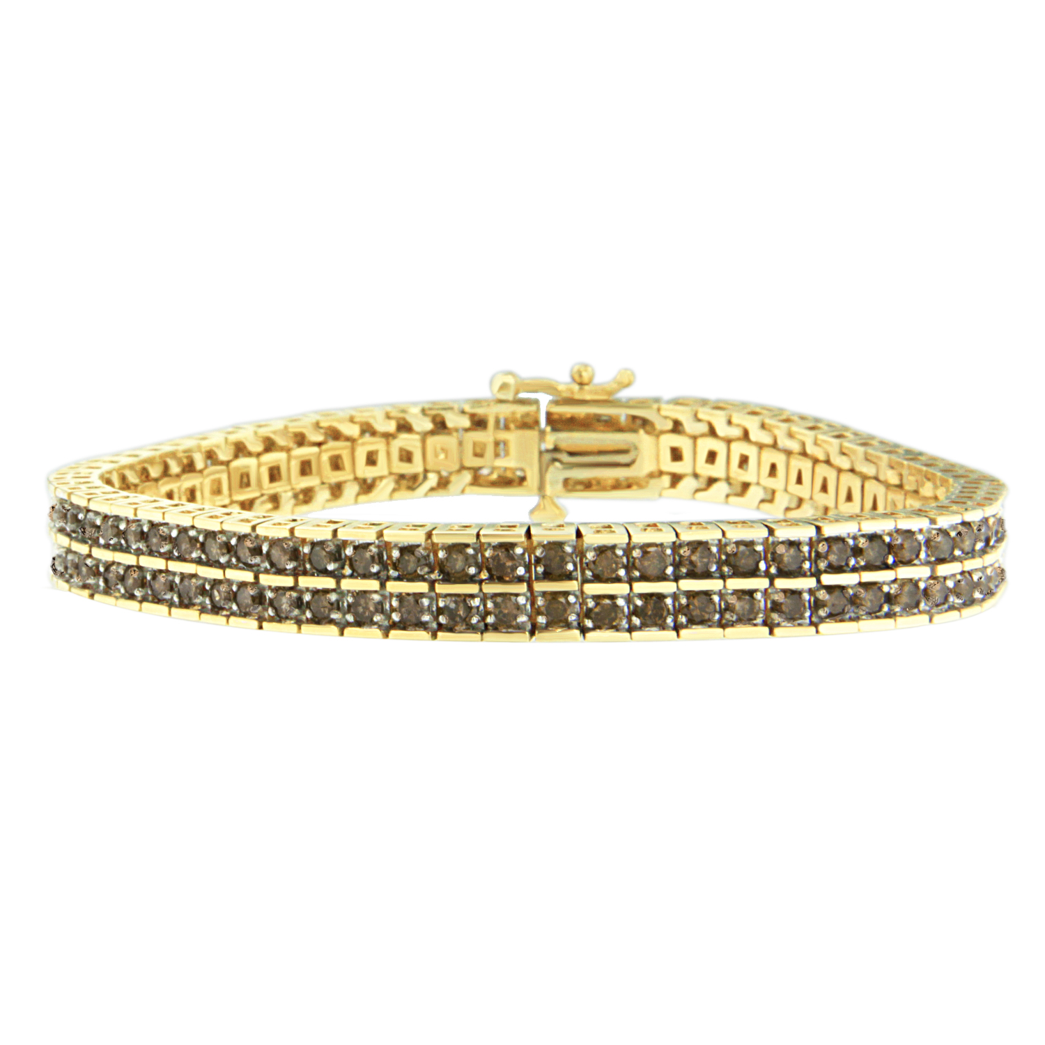 10K Yellow Gold 5 CTTW Round Cut Diamond Layers of Love Bracelet (K-L, I1-I2) by VJG