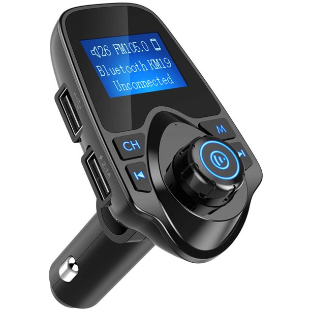 Gliving Bluetooth Fm Transmitter For Car Wireless Aux Adaptor Receiver Hands Free Car Kit 1 44 Inch Display Tf Card Aux Usb For Most Devices Walmart Com Walmart Com