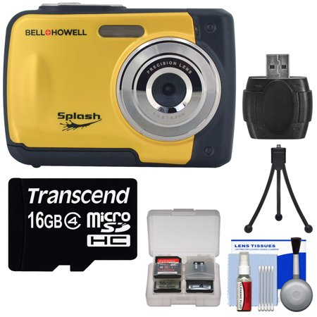 Bell & Howell Splash WP10 Shock & Waterproof Digital Camera (Yellow) with 16GB Card + Tripod + Reader +