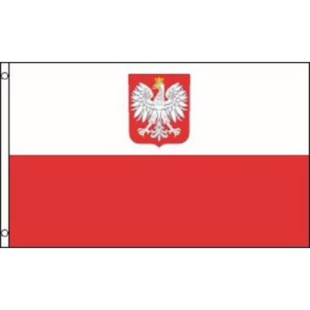 3x5 Poland with Eagle Nylon Flag Indoor Outdoor Polish National Country ()