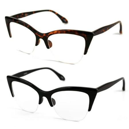 POP Fashionwear  P4022CL 1950's Vintage Style Cat Eye Clear Lens Glasses](1950's Glasses)