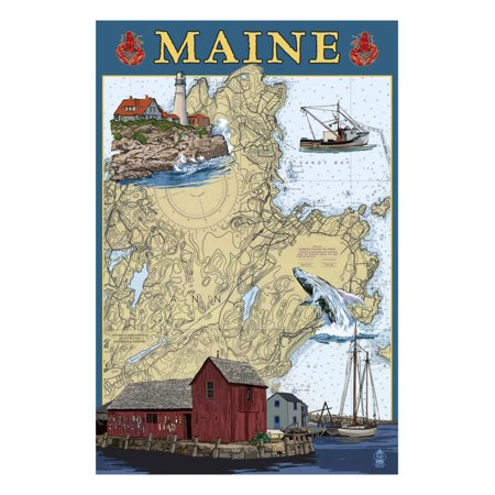 Maine Scenes - Nautical Chart Print Wall Art By Lantern Press ()