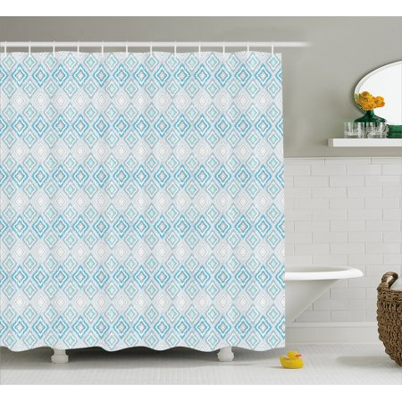 Ikat Shower Curtain Pale Colored Geometric Aztec Pattern Traditional Peruvian Culture Elements Fabric Bathroom