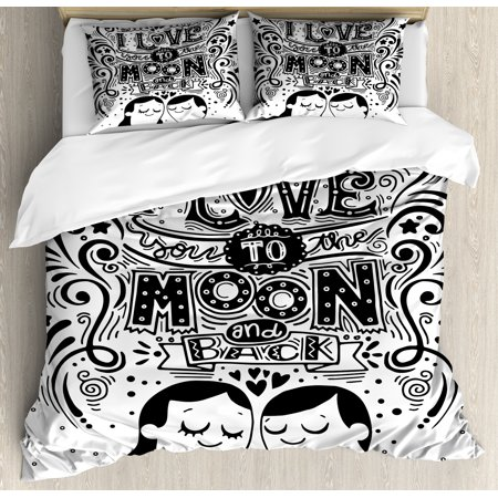 I Love You Duvet Cover Set, Love Bugs Hugging Eyes Closed Spiritual  Relationship Feeling Connected Artwork, Decorative Bedding Set with Pillow  Shams,