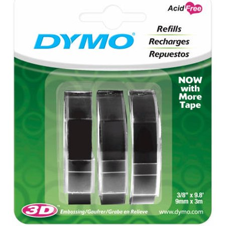 DYMO Self-Adhesive Embossing Labels, White Print on Black Tape, 3/8-Inch x 9.8-Foot Roll, 3 - Label Dymo Black Print