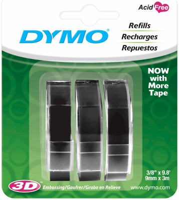DYMO Self-Adhesive Embossing Labels, White Print on Black Tape, 3/8-Inch x 9.8-Foot Roll, 3 Pack