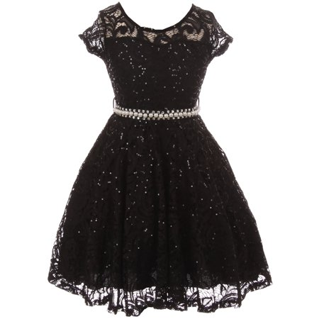 Little Girl Cap Sleeve Floral Lace Glitter Pearl Holiday Party Flower Girl Dress Black 4 JKS 2102 BNY Corner](Black Girl Dresses)