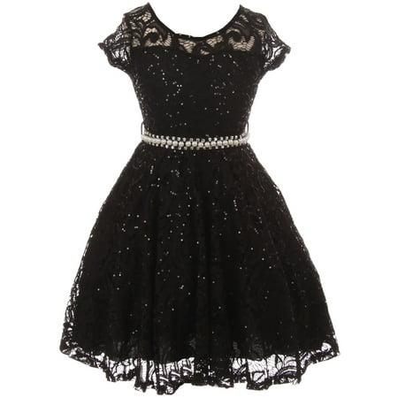 Little Girl Cap Sleeve Floral Lace Glitter Pearl Holiday Party Flower Girl Dress Black 4 JKS 2102 BNY Corner](Black Flower Girl Dresses)