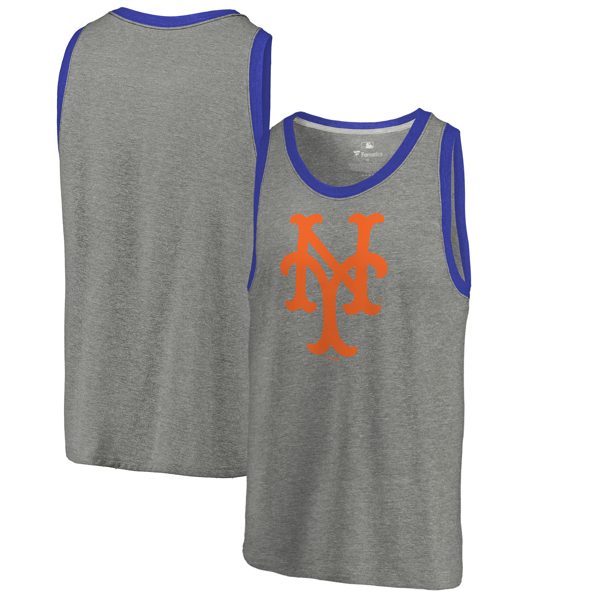 New York Mets Fanatics Branded Cooperstown Collection Huntington Tri-Blend Tank Top - Heathered Gray