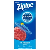 Ziploc Brand Freezer Gallon Bags with Grip 'n Seal Technology, 60 Count