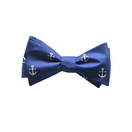 SummerTies Anchor Kids Bow Tie - White on Navy, Printed Silk, Kids Pre-Tied