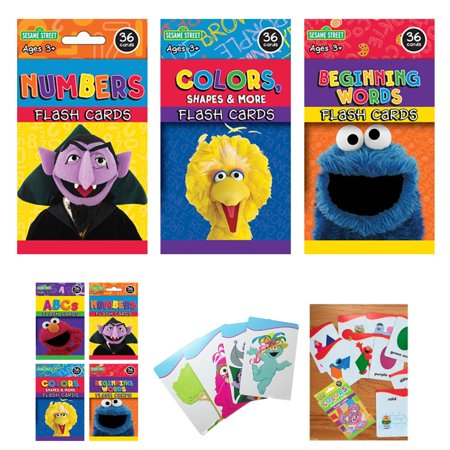 Atc Cards (3 Sesame Street Flash Card Beginning Words Numbers Alphabet ABC Learning Kid Fun)
