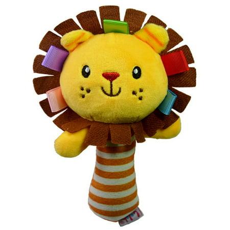 Jeobest 1PC Cute Animal Shaped Baby Cartoon Hand Ring Bell Kid Plush BB Stick Toys Handbell Squeeze Rattle Toy Newborn Grabbing Toy (Lion) MZ