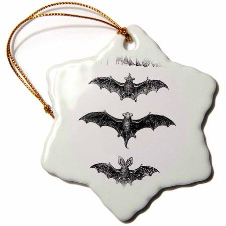 3dRose Three Bats Vampire Halloween black and white, Snowflake Ornament, Porcelain, - Halloween Bat Clipart Black And White