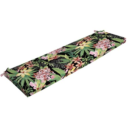 Better Homes & Gardens Black Tropical 17 x 46 in. Outdoor Bench Cushion with