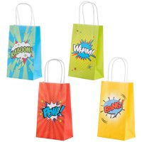 Superhero Comic Book Gift Bags – 12-Pack Kids Treat Bags with Handles, Paper Goodie Bags for Retail, Gifts, Party Favors, 4 Assorted Designs, 9 x 5.3 x 3.15 Inches