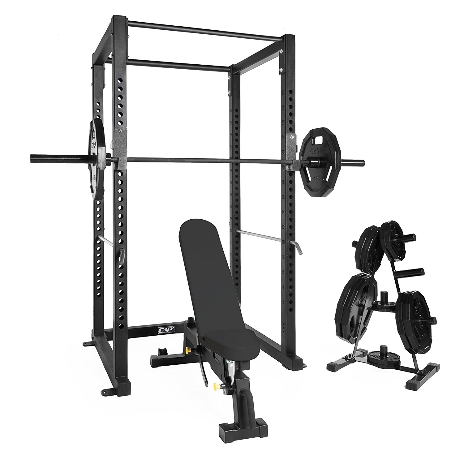 CAP Power Rack / Cage Combo ( 3-Inch Square, 11 Gauge Steel Frame Full Cage & Bench; 1500lb Solid Black Power Bar; 12-Sided Black Rubber Grip Plates & Plate Tree)