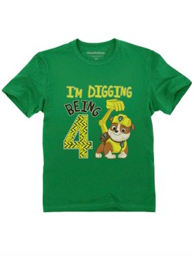 Paw Patrol Rubble Digging 4th Birthday Official Toddler Kids T-Shirt 4T Navy