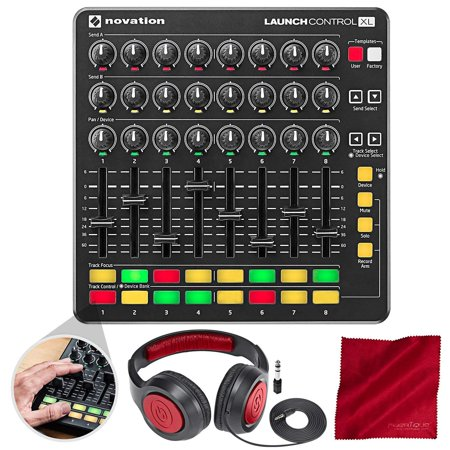 Novation Launch Control XL MIDI USB Controller for Ableton Live with Samson Headphones, and Microfiber (Best Midi Controller For Live Performance)