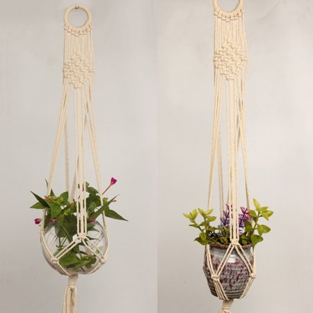 Macrame Plant Hanger Indoor Outdoor Hand Knit Hanging Suspend Planter Basket Net Cotton Rope K style - image 6 of 7