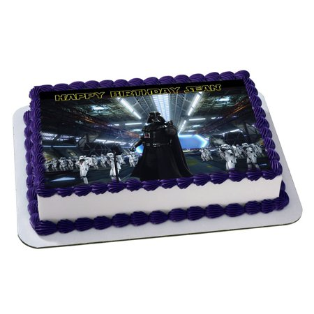 Darth Vader Star Wars Quarter Sheet Edible Photo Birthday Cake Topper Personalized 1 4 Sheetnbsp