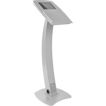 Displays2go iPad Podium Stand for Floor, Hinged Enclosure Fits Generations 2-4 and Air, Includes Ledge for Speaker's Notes, Aluminum &