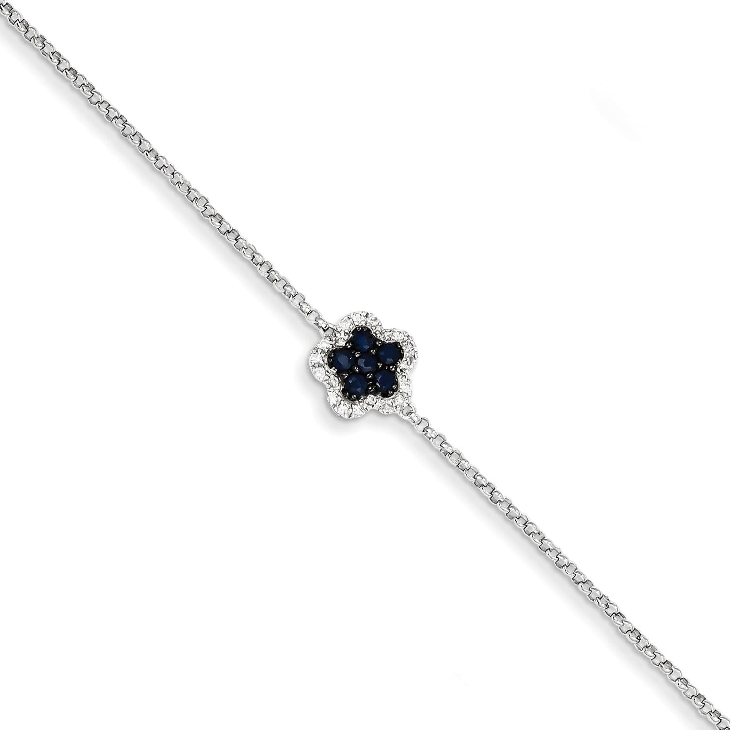 14k White Gold White Diamond & Sapphire Flower w  .5in Ext. Bracelet by