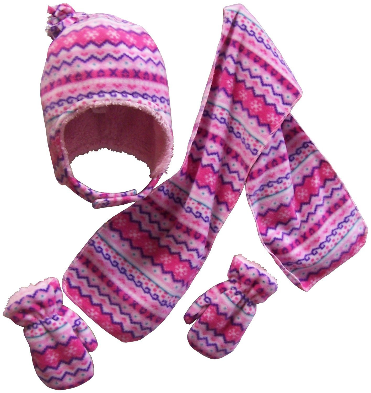 NICE CAPS Girls Sherpa Lined Fair Isle Printed Fleece hat/scarf ...
